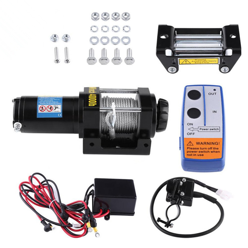 Free Shipping For EU Electric 4000lb Car Winch 12V ATV Winch Towing Cables Pull Kit Remote Control Set Permanent Magnet