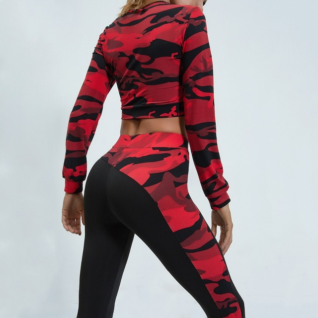 Women's Camouflage Print Crop Long Sleeve and Leggings Set  2 Colors  S-L