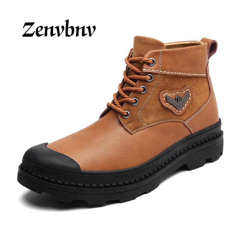 ZENVBNV Genuine Leather Men Boots Spring/Autumn Ankle Boots Fashion Footwear Lace Up Shoes Men High Quality Vintage Men Shoes zenvbnv genuine leather men boots spring autumn ankle boots fashion footwear lace up shoes men high quality vintage men shoes