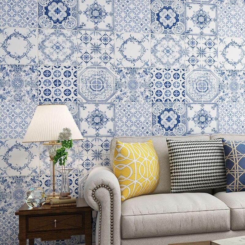 Купить с кэшбэком Southeast Asian Style Wallpaper Black And White Blue Yellow Bohemian Bedroom Living Room Wallpaper Roll