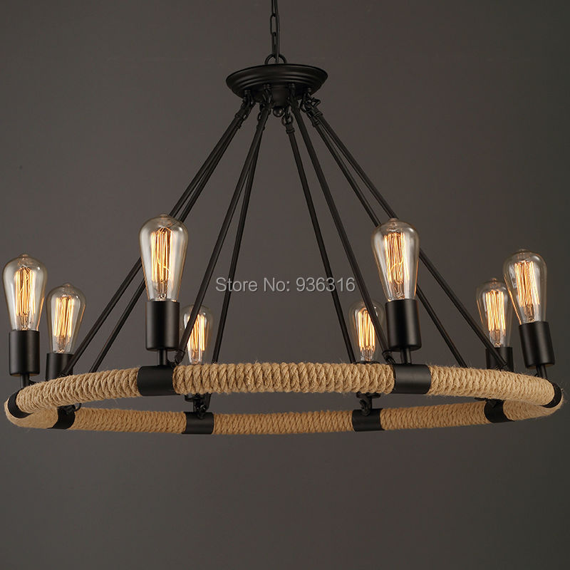 Vintage Rope Pendant Light Lamp Loft Creative Personality Industrial Lamp Edison Bulb American Style  Living Room american edison loft style rope retro