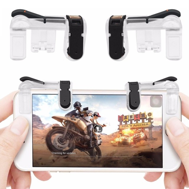 1 Pair PUBG Mobile Game Fire Button Aim Key Smart phone Gaming Trigger L1 R1 Shooter Controller Transparent V4.0