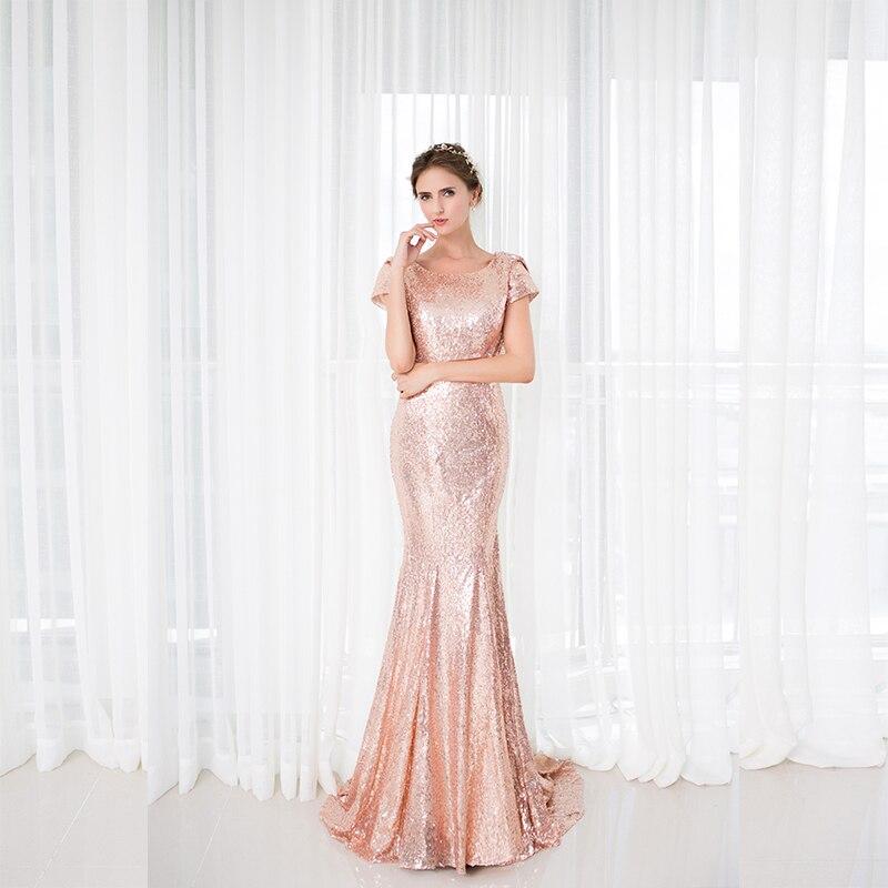 2018 Backlackgirl Elegant Rose Gold Sequins Bridesmaid Dress New ... bf6b14f345de