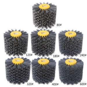 Image 2 - Deburring Abrasive Wire Drawing Round Brush Head Polishing Grinding Tool Buffer Wheel For Furniture Wood Sculpture Rotary Drill