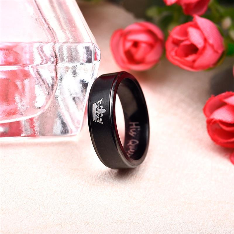 Jiayiqi Fashion His Queen Her King Couple Ring Crown Stainless Steel Wedding Ring for Women Men Jewelry Black Silver Color Ring 2