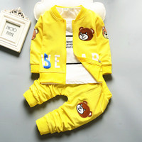 Christmas Newborn Baby Boys Girls Cartoon Bear Cardigan Jacket T Shirt Pants 3PCS Autumn Spring Infant