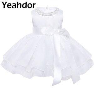 Image 1 - フラワーガールのドレス幼児赤ちゃんのプリンセスチュチュドレス真珠ネックノースリーブページェントウエディングパーティードレスコットンベビーガールサマードレス