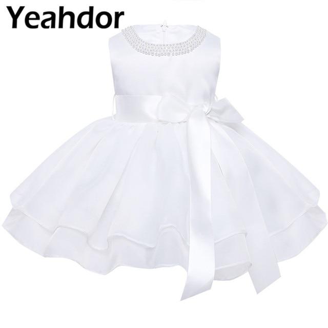 フラワーガールのドレス幼児赤ちゃんのプリンセスチュチュドレス真珠ネックノースリーブページェントウエディングパーティードレスコットンベビーガールサマードレス