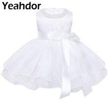 Fleur filles robes infantile bébé filles princesse TuTu robe perle cou sans manches Vestidos pour reconstitution historique robe de fête de mariage