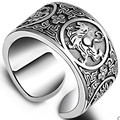 990 pure silver ring male personality fashion wide openings fine silver