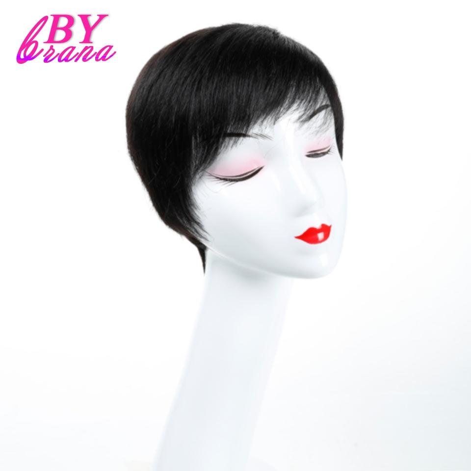 Bybrana Short Straight Human Hair Wigs None Lace Machine Made Remy Brazilian Hair Human  ...