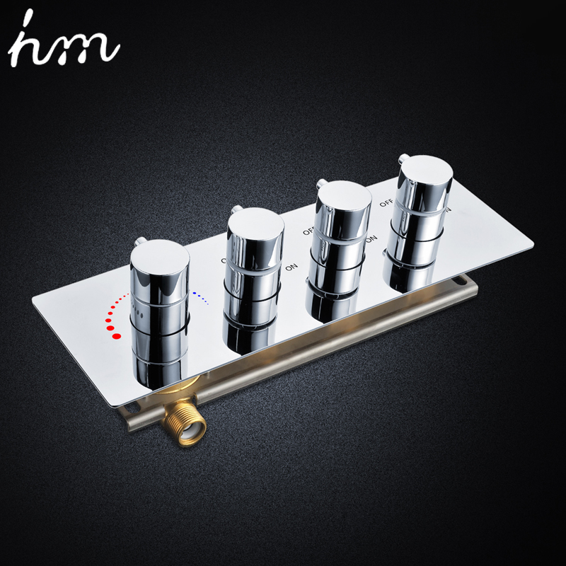 hm Faucets Accessories Contemporary Brass Chrome Thermostatic Shower Valve 3 Way Bathtub faucet Diverter Thermostat Mixer