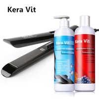 Best Selling Professional Repair & Reta Do Cabelo Tratamento Do Cabelo Da Queratina Keravit 500ml + 500ml Shampoo Purificante + Cabelo ferramenta de Ferro plana