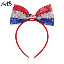 AHB 4th of July Blue/White/Red Sequin Bowknot Hairband for Girls Striped Bows Headband Women Kids Party Hair Accessories