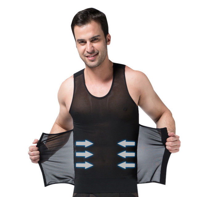 f73b48fd70d Men slimming vest body shaping belts abdomen drawing slim belly underwear  reduce weight men black white