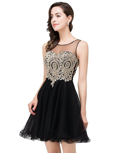 8cd0bb8172c7 Black Homecoming Dress 2017 Prom Dress Gown Short with Gold Lace Formal  Cocktail Dress Party Dress Cheap DC008