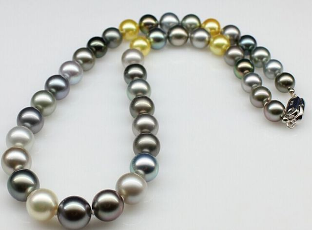 10-12mm AAA natural round peacock green multicolor pearl necklace 18inch