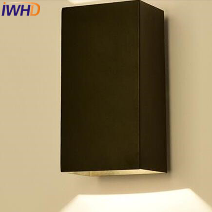 IWHD  Led Sconce Wall Lights Up Down Iron Cuboid Modern Wall Lamp LED Bedroom Lighting Fixtures Arandela para Parede IWHD  Led Sconce Wall Lights Up Down Iron Cuboid Modern Wall Lamp LED Bedroom Lighting Fixtures Arandela para Parede