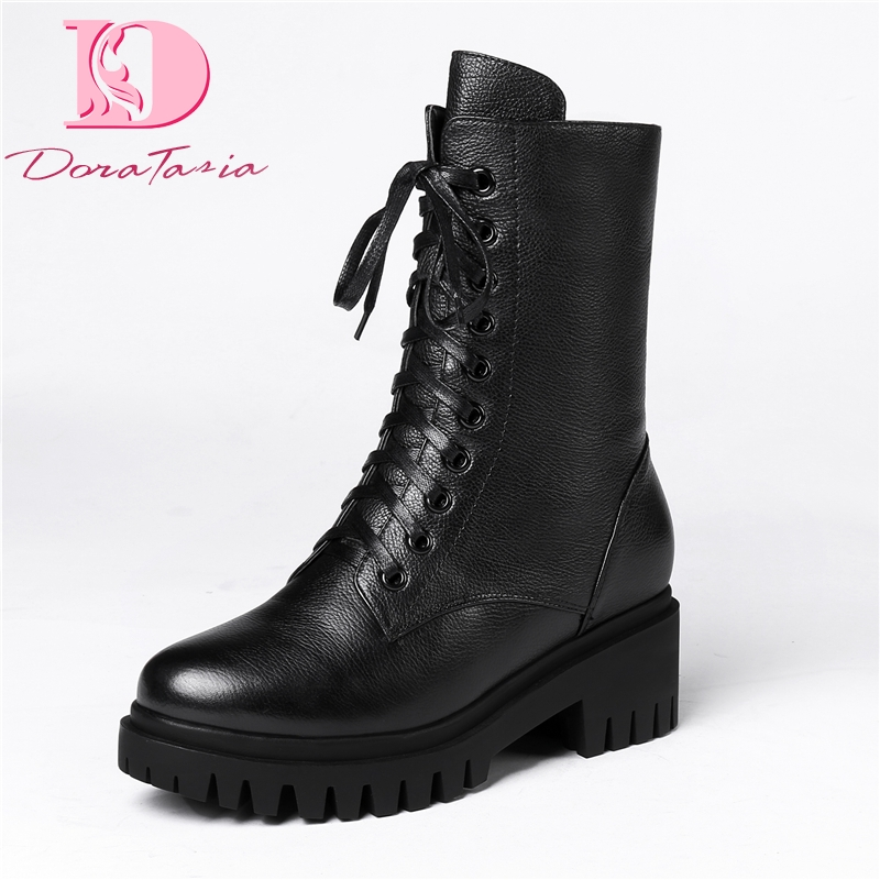 DoraTasia Brand Design Genuine Leather Top Quality Chunky Heels Boots Women s Shoes Dropship Platform Boots