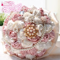 Pink Beige Wedding Bouquets With Pearls For Brides casamen Crystal Wedding Flowers Brooch Bouquets Bouquet De Mariage D197