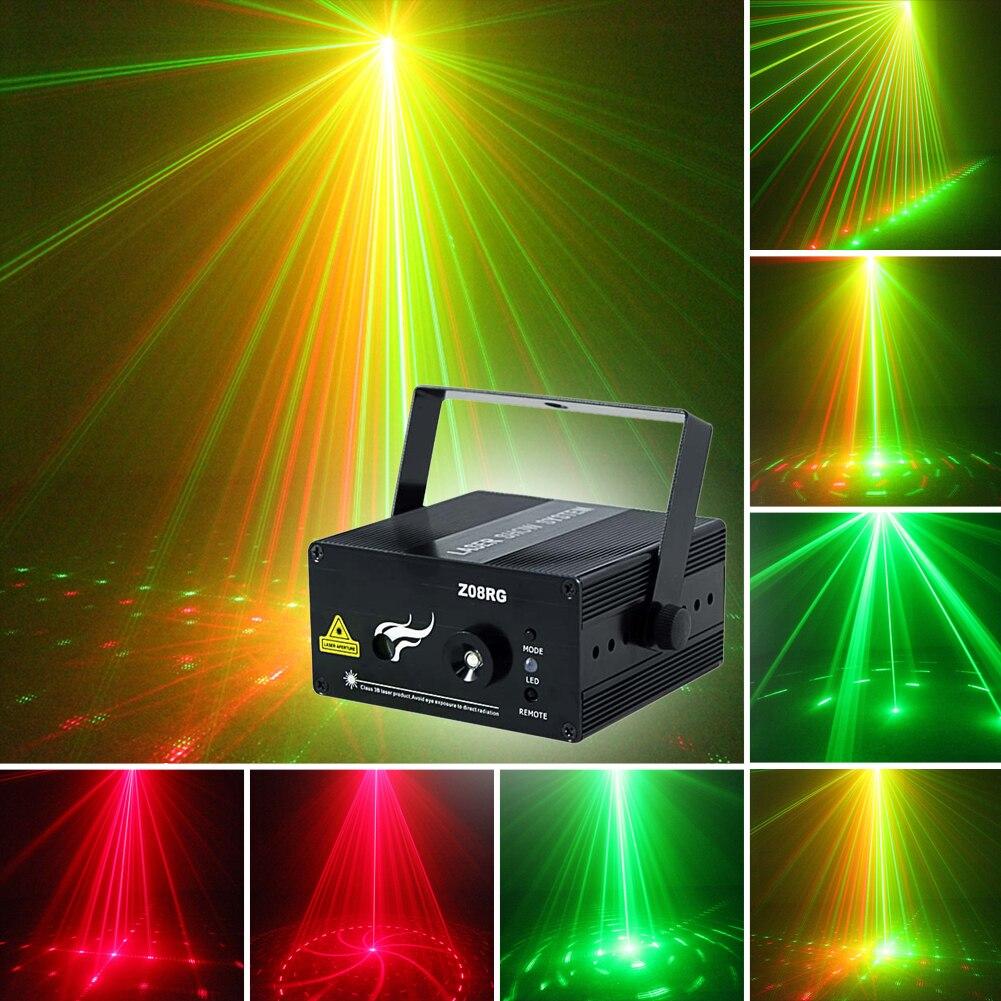 Remote 8 Patterns RG BLUE LED Stage Laser Lighting Home DJ Party Show Club Bar Colorful Professional Christmas Music EU/US все цены