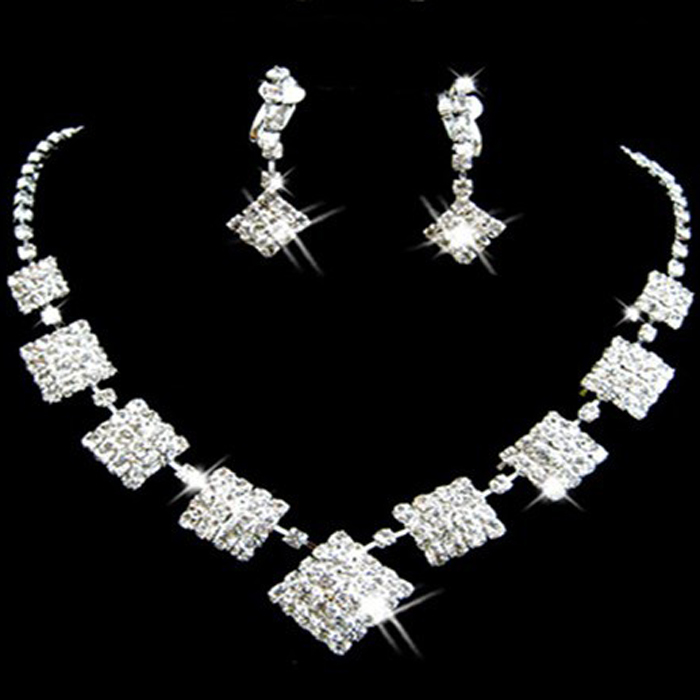 2pcs/set wedding bridal jewelry necklace earrings bride chain sets the wedding jewelry set xl058
