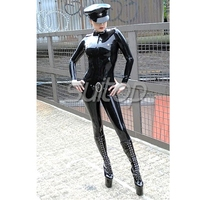 Black latex leotard tights for adult girls police man military cosplay rubber uniform woman with belts