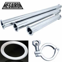 "MEGAIRON 2018 New Arrival OD 38mm 1.5"" Sanitary Spool Tube Ferrule OD 50.5mm+ PTFE Gasket +1.5"" Tri Clamp Stainless Steel SS316"