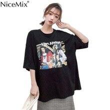 NiceMix Letter street Girls Print Female T Shirt  Harajuku T-Shirts Women 2019 New Summer Short Sleeve Casual Clothing Punk Tee