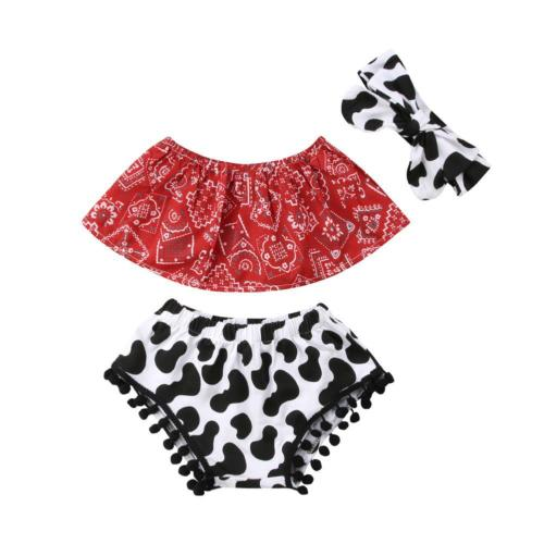 6b27cfd1c429 Newborn Baby Girl Clothes Set Off Shoulder Top T-Shirt+Tassel Shorts Pants  3PCS Outfit