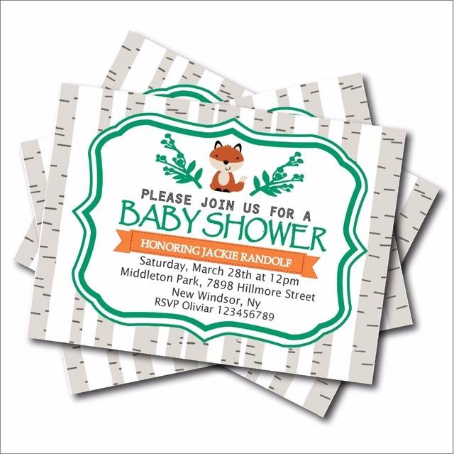 20 Unids Lote Custom Fox Cumpleanos Woodland Baby Shower Invita