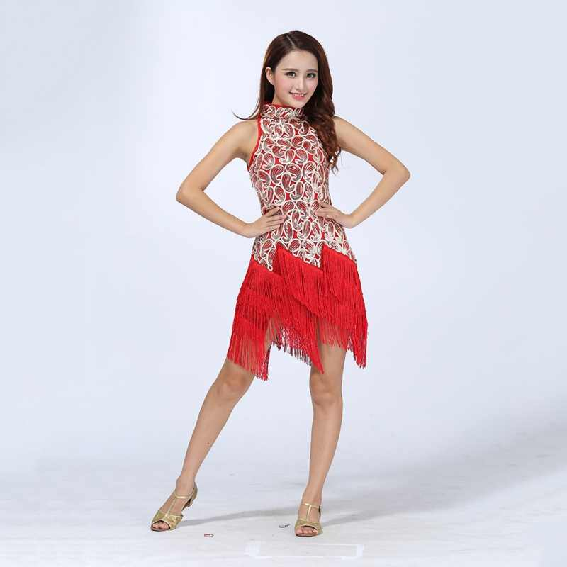Frauen Bunte Sexy Bling Latin Pailletten Kleid Ballsaal Salsa Samba Rumba Tango Cha Cha Dance Performance Kleid
