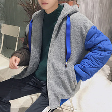 Fashion 2017 Male Winter Coats Warm Large Lamb Cotton Schoolboy Short Thickening Sleeve Spelling Casaco Masculino Parka Mens