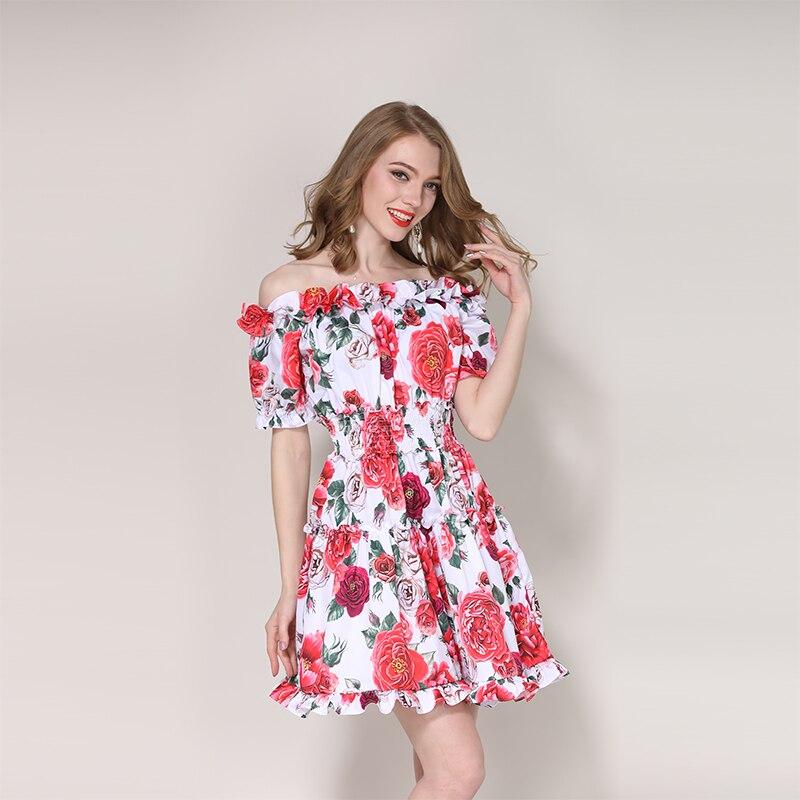 2018 Новый Довольно Роза печати Slash шеи платье Европейский сладкий короткий рукав длиной выше колена Мини отдых женский милое платье