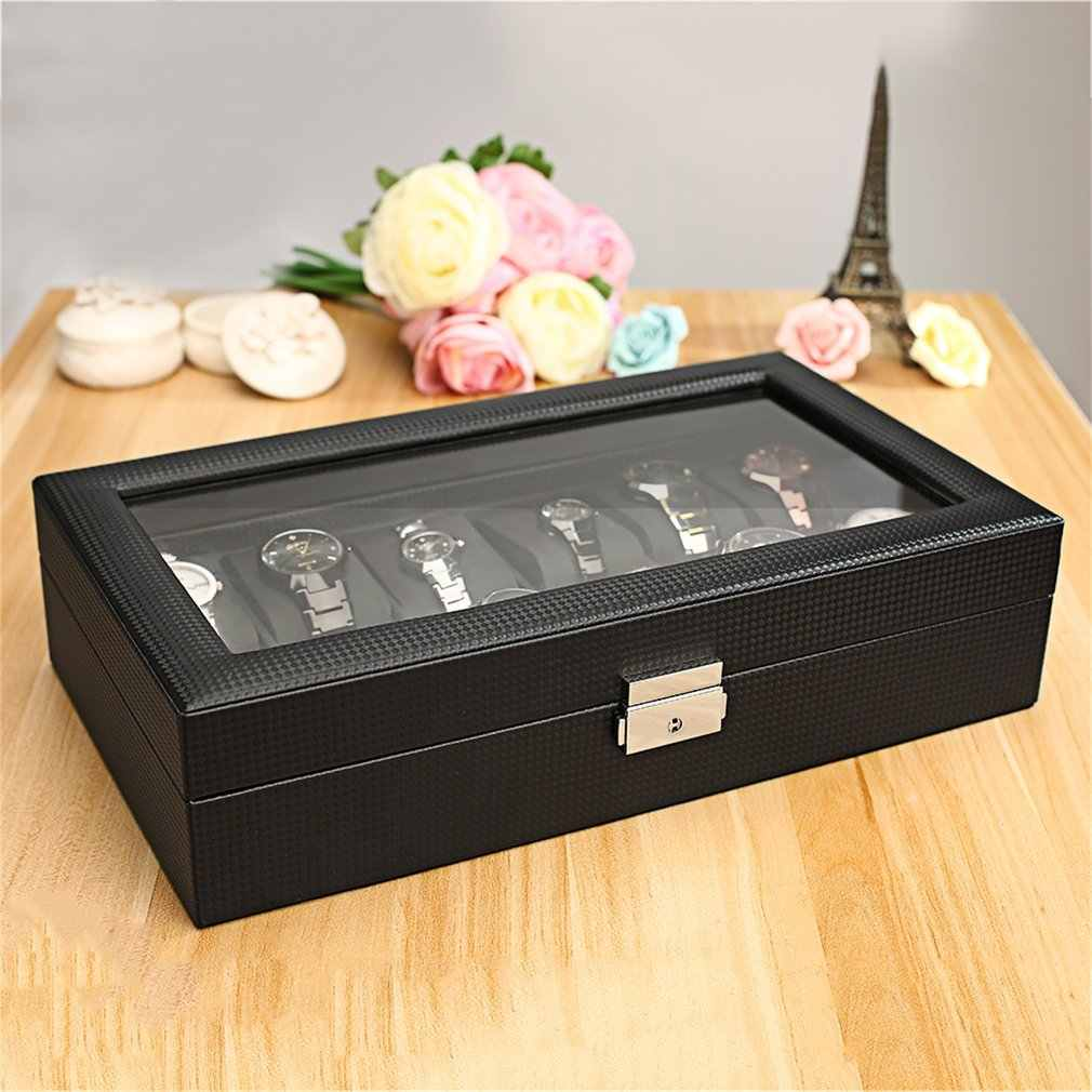 Carbon Fiber High-Grade 12 Slots Luxury Display Design Jewelry Display Watch Box Storage Black Watch Holder Case