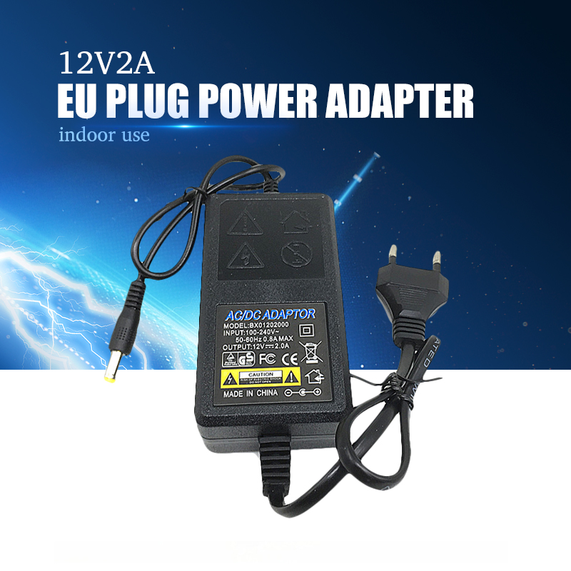 YiiSPO Wholesale DC 12V2A Power Supply AC 100V-240V Adapter EU Plug 5.5mm x 2.1-2.5mm for cctv camera indoor power adapter EU ac 110 240v to dc 12v 1a power supply adapter for cctv hd security camera bullet ip cvi tvi ahd sdi cameras eu us uk au plug