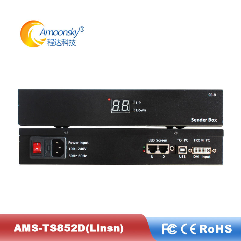 Linsn TS852D with ts802d send card inbuilt Meanwell power led send box like nova mctrl300 for