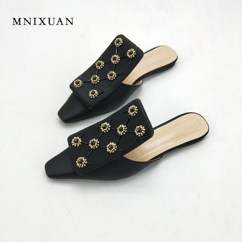 MNIXUAN mules shoes woman 2018 new retro square toe ladies flat slippers sandals silk crystal casual slides big size 40 41 black mnixuan women slippers sandals summer