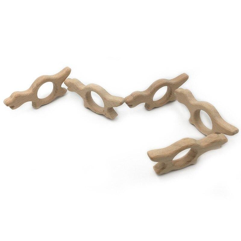 Ручной работы деревянный органических безопасных ребенка прорезыватель крокодил подвеской органический Натуральный Бук деревянные игруш...