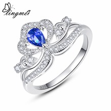 Lingmei Drop Shipping Fashion Crown Princess Jewelry Pear Cut Blue & White Cubic Zircon Silver Engagement Ring Size 6 7 8 9