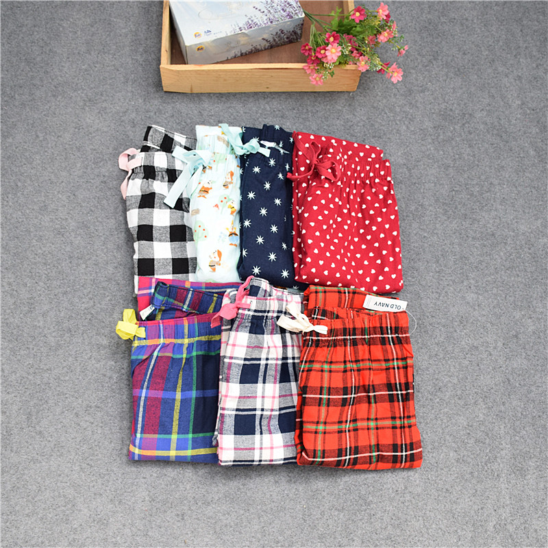 Pants For Women Cotton Woven Velveteen Sanding Pants Plaid Women Lounge Sleep Bottoms Trousers