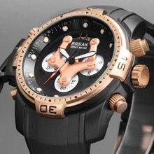 BREAK Watches men Luxury Brand Men Sports Watch Quartz Military WristWatch Rubber Multifunction Chronograph Sport Watches 5601