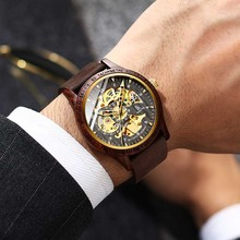 IK Colouring Men Watch Fashion Casual Wooden Case Crazy Genuine Leather Strap Wo