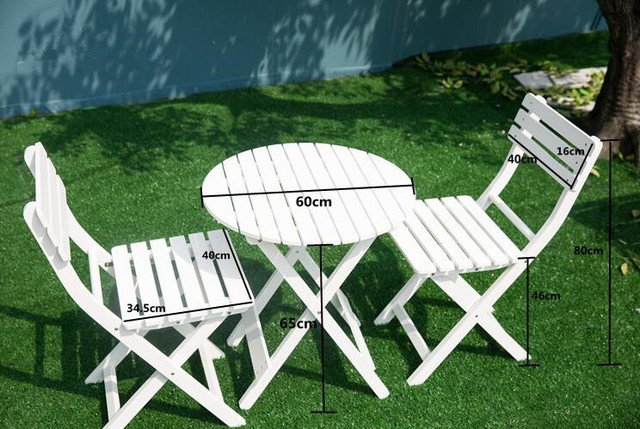 Outdoor Wood Patio Furniture White 3 Piece Folding Garden Set Table And Chair Foldable Pool Backyard Round Cafe