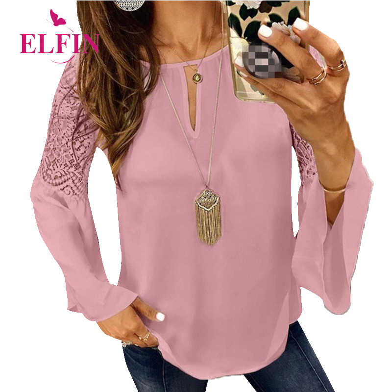 Women Tops And Blouses Long Sleeves Autumn Lace Blouses Women Fashion 2018 Office Work Muj