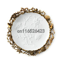Европейский стиль керамические вставки медь творческие настенный домашний интерьер полноценно гостиная декоративная тарелка