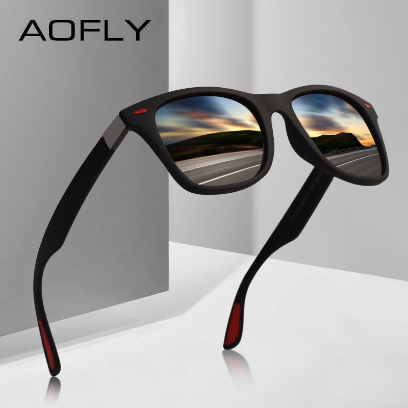 AOFLY BRAND DESIGN Classic Polarized Sunglasses Men Women Driving Square Frame Sun Glasses Male Goggle UV400 Gafas De Sol AF8083 chic camouflage pattern and butterfly frame design sunglasses for women