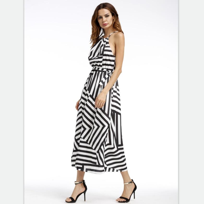 OCQBI Geometric Printing Long Womens Dress Halter Backless Ladies Dresses with Straps Beach Harajuku Vestidos De Fiesta