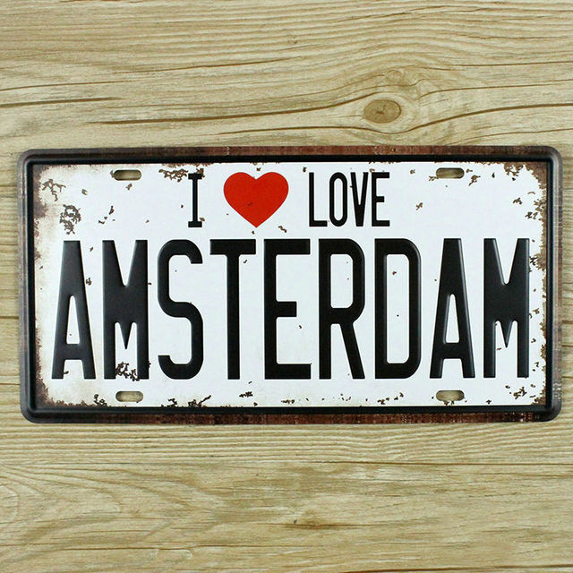 License Plate LOVE AMSTERDAM metal tin sign Retro painting vintage home decor wall art crafts bar & License Plate LOVE AMSTERDAM metal tin sign Retro painting vintage ...