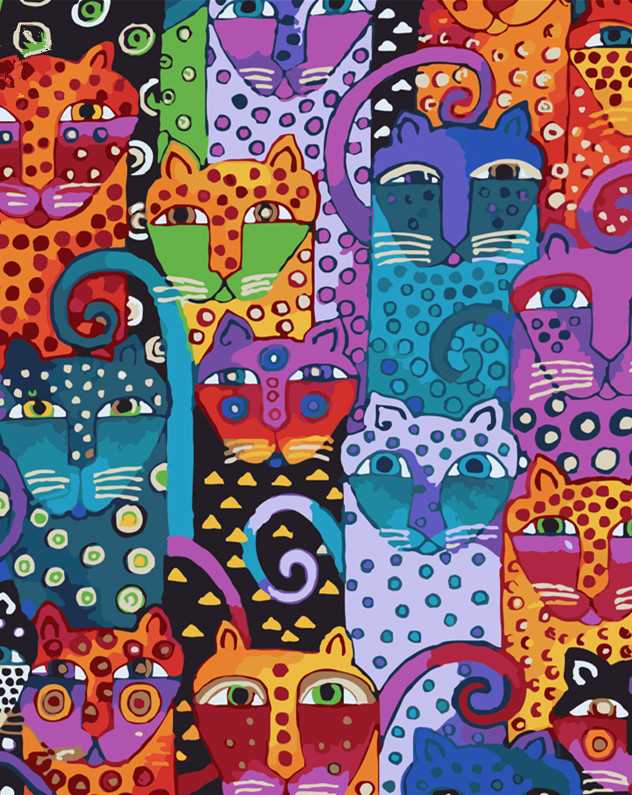 5D Diy Hand Painted Oil Paint by Numbers Drawing Coloring Painting by Number Wall Canvas Picture Home Decor Craft Animals Cats number
